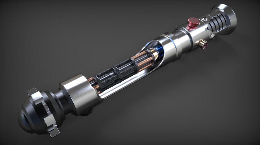 Obi-Wan Kenobi TMP Lightsaber royalty-free 3d model - Preview no. 25