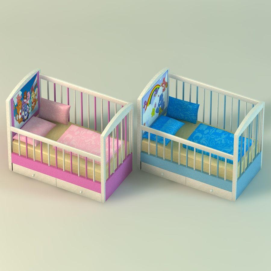 Spädbarn Spjälsäng royalty-free 3d model - Preview no. 2