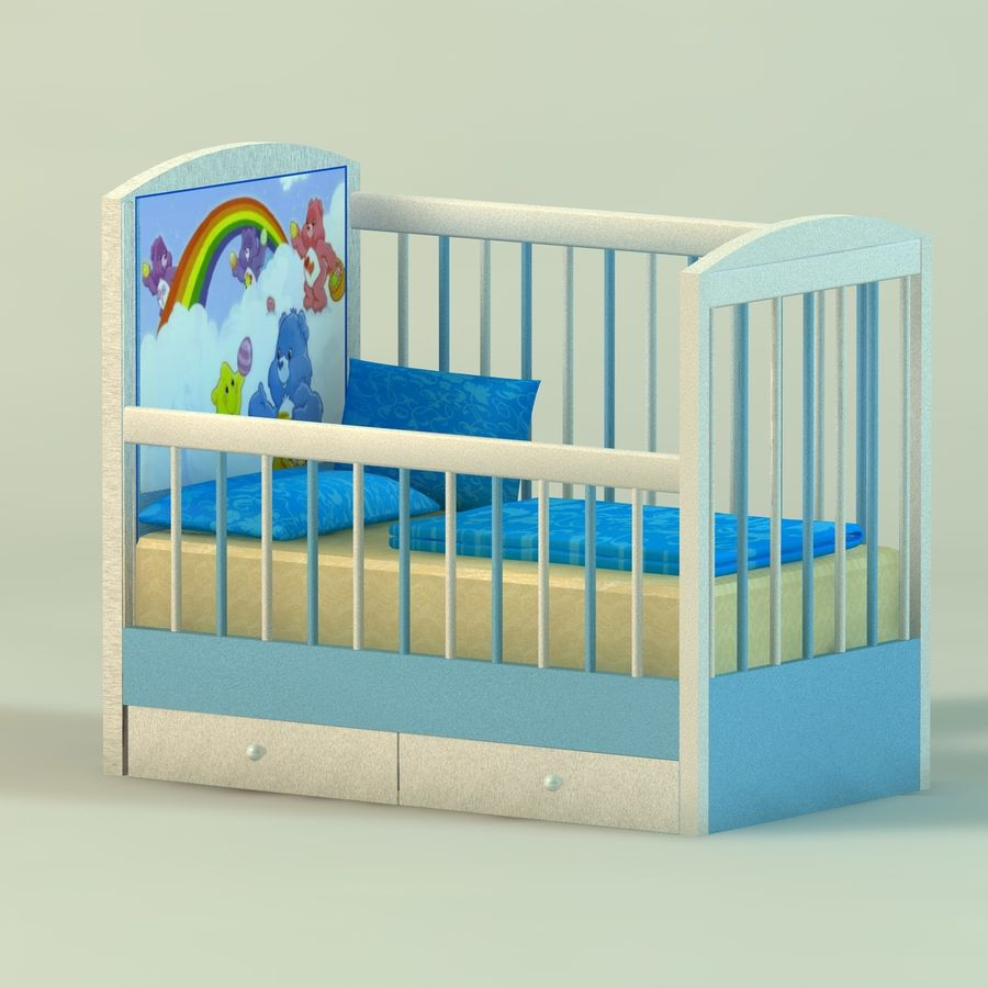 Spädbarn Spjälsäng royalty-free 3d model - Preview no. 4
