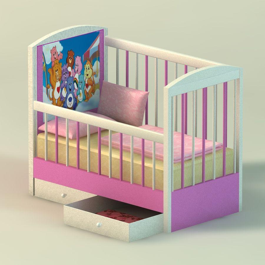 Spädbarn Spjälsäng royalty-free 3d model - Preview no. 3
