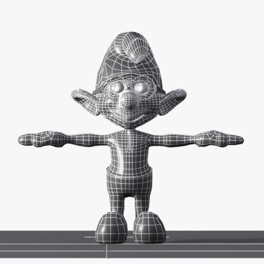 Brainy Smurf royalty-free 3d model - Preview no. 9