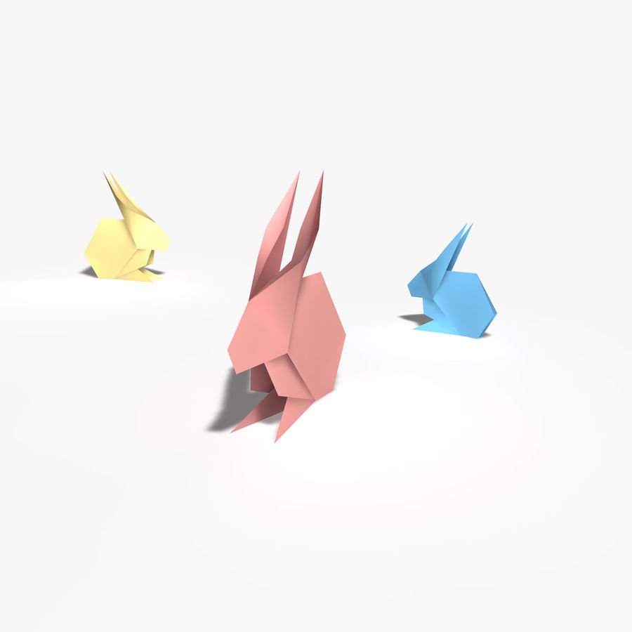 Coniglio origami royalty-free 3d model - Preview no. 3