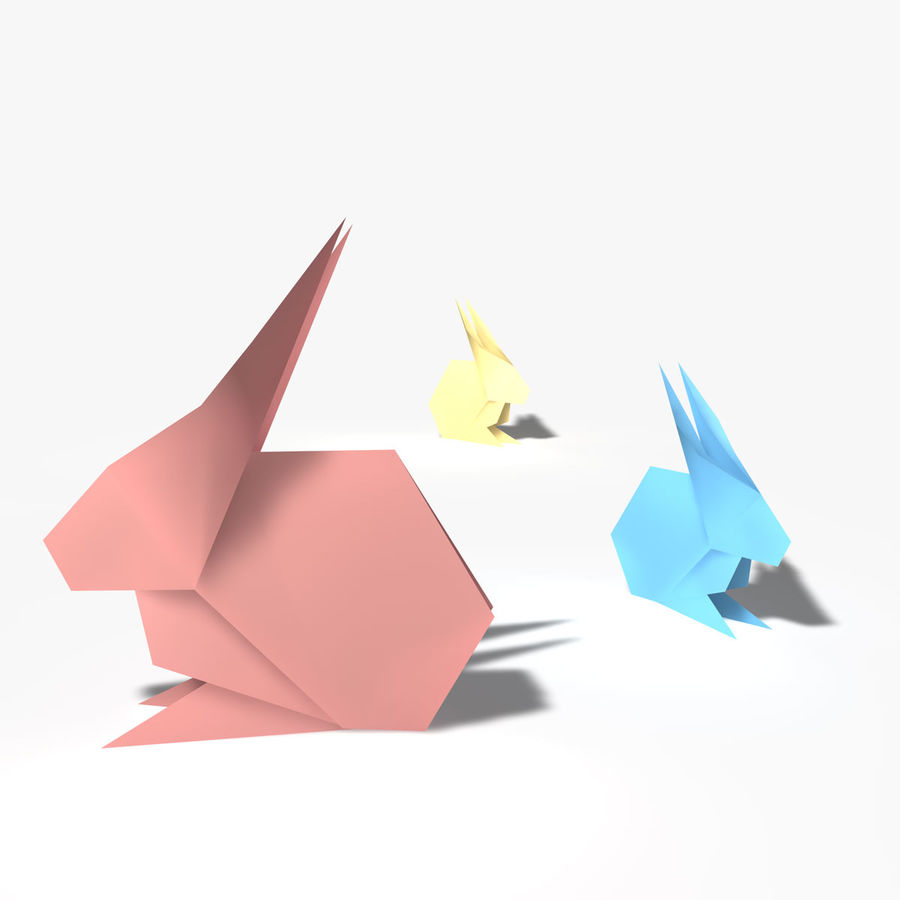 Coniglio origami royalty-free 3d model - Preview no. 4