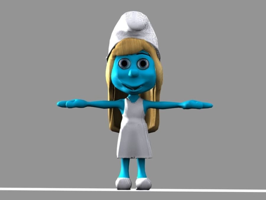 Smurfette Smurf royalty-free 3d model - Preview no. 7