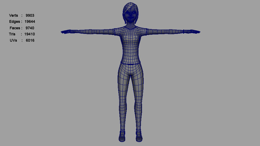 Femme truquée royalty-free 3d model - Preview no. 14