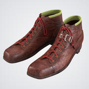 Alrededor de 1950 botas de esquí de la vendimia modelo 3d