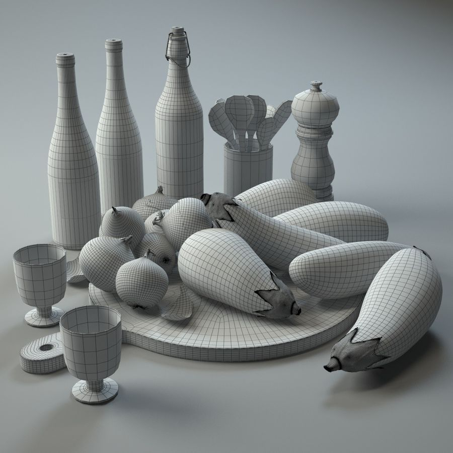 Kitchen Accessories 1 royalty-free 3d model - Preview no. 7