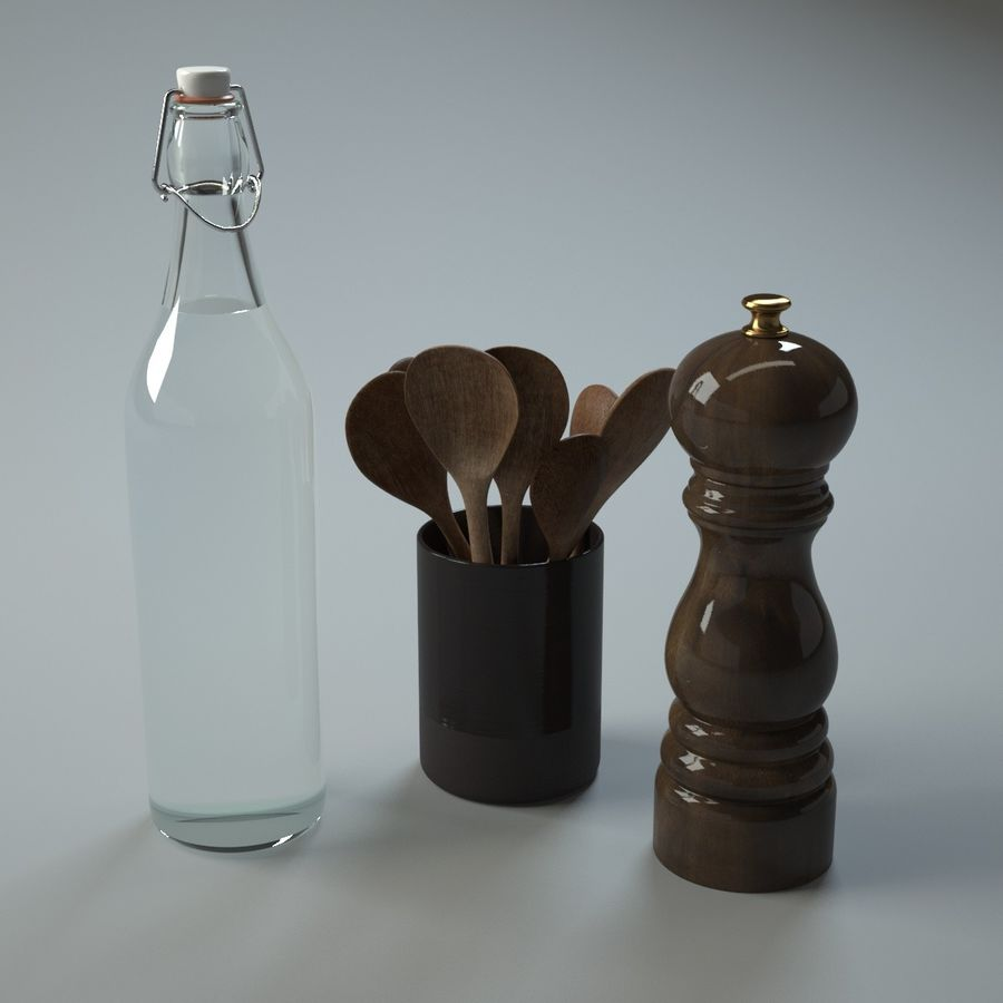 Kitchen Accessories 1 royalty-free 3d model - Preview no. 5