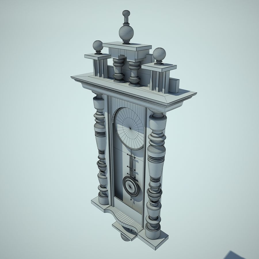 Classical Clock royalty-free 3d model - Preview no. 9