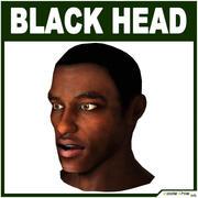 Laag poly zwart mannelijk hoofd 3d model