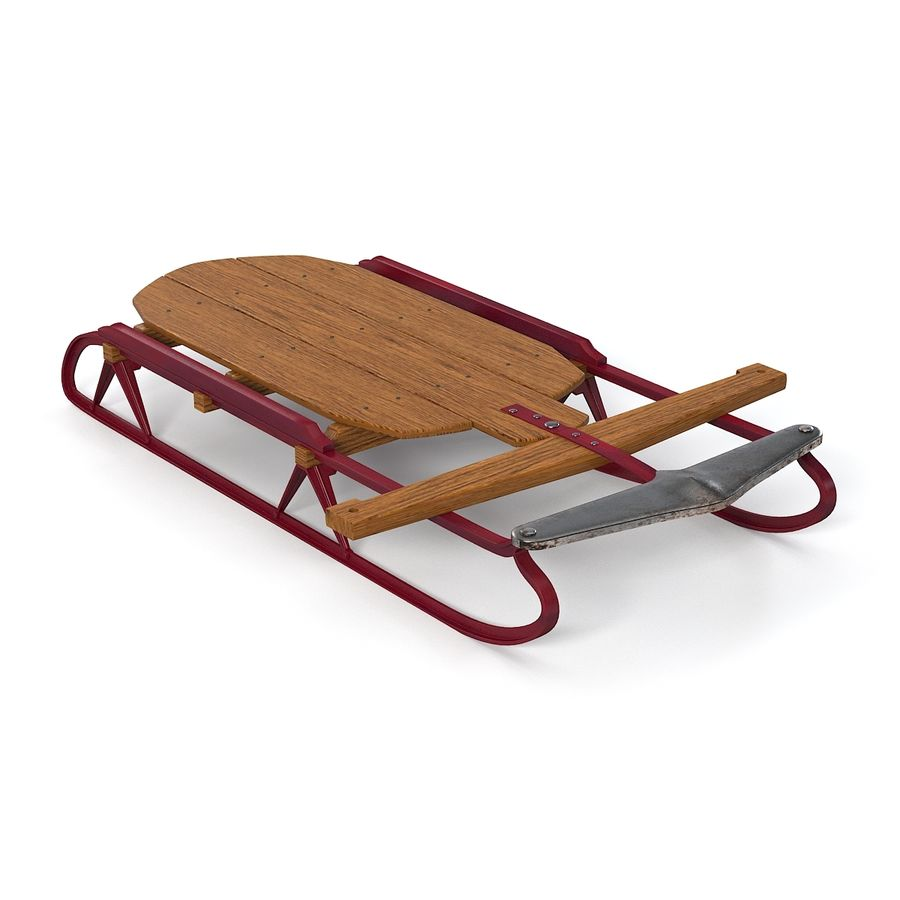 Vintage Flexible Flyer Snow Sled royalty-free 3d model - Preview no. 4