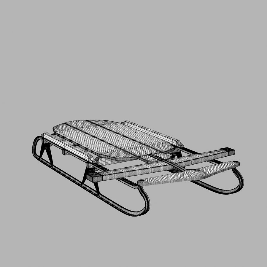 Vintage Flexible Flyer Snow Sled royalty-free 3d model - Preview no. 6