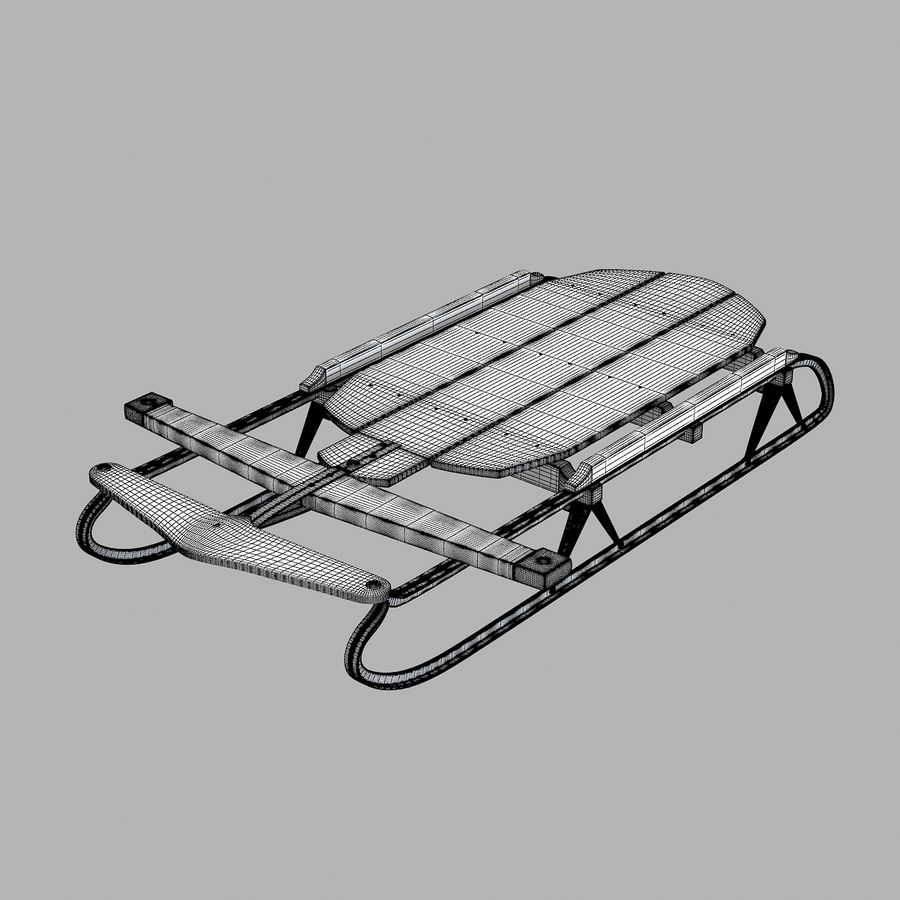 Vintage Flexible Flyer Snow Sled royalty-free 3d model - Preview no. 7