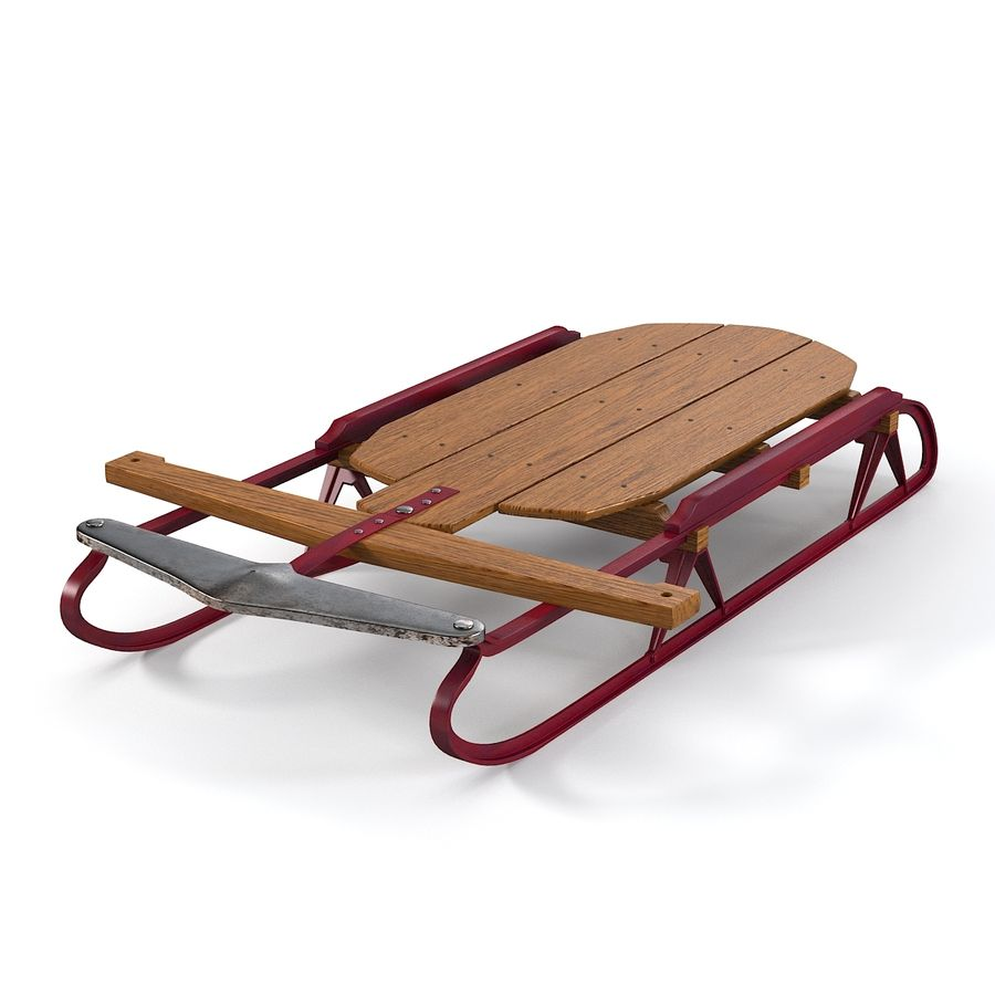 Vintage Flexible Flyer Snow Sled royalty-free 3d model - Preview no. 3