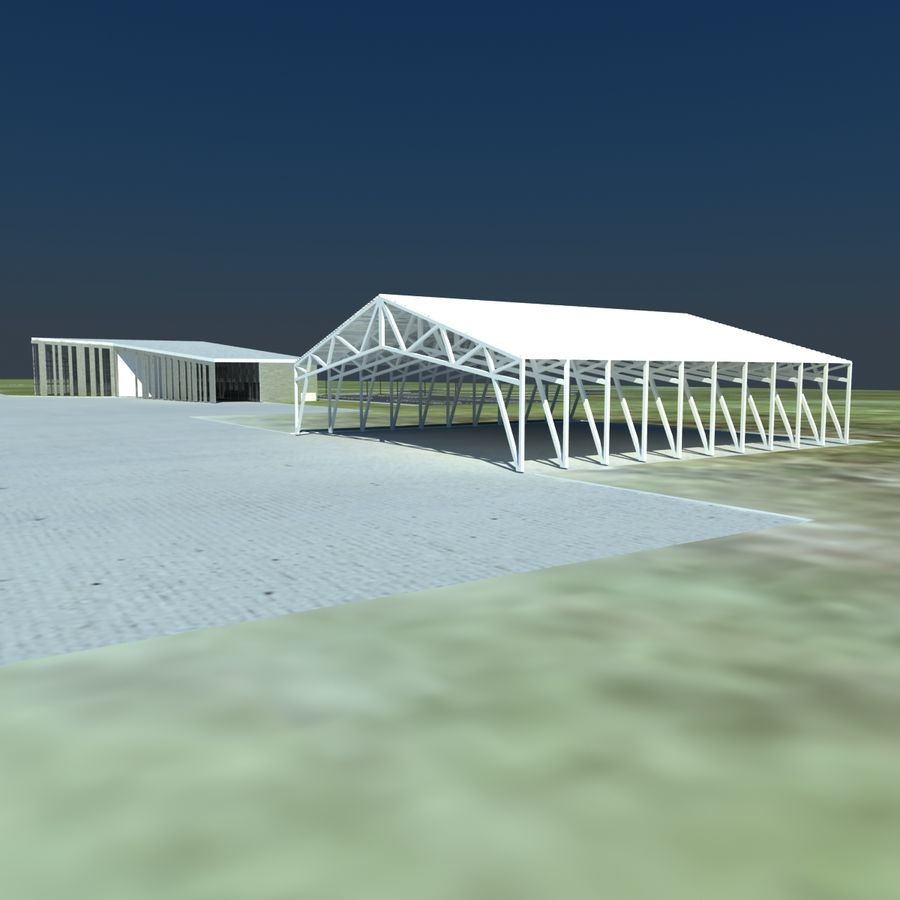 Piccolo aeroporto royalty-free 3d model - Preview no. 11