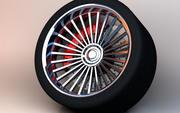 Performance Tire Rim and Brakes 3d model
