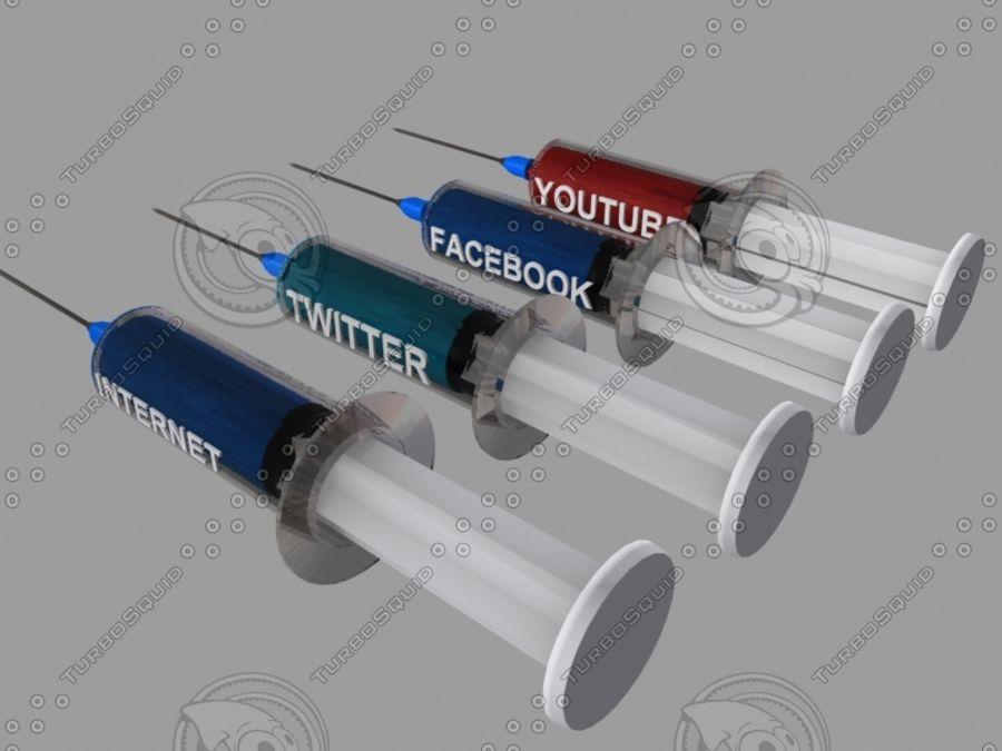 Internet Facebook Twitter Uzależnienie od Youtube (strzykawka) royalty-free 3d model - Preview no. 3