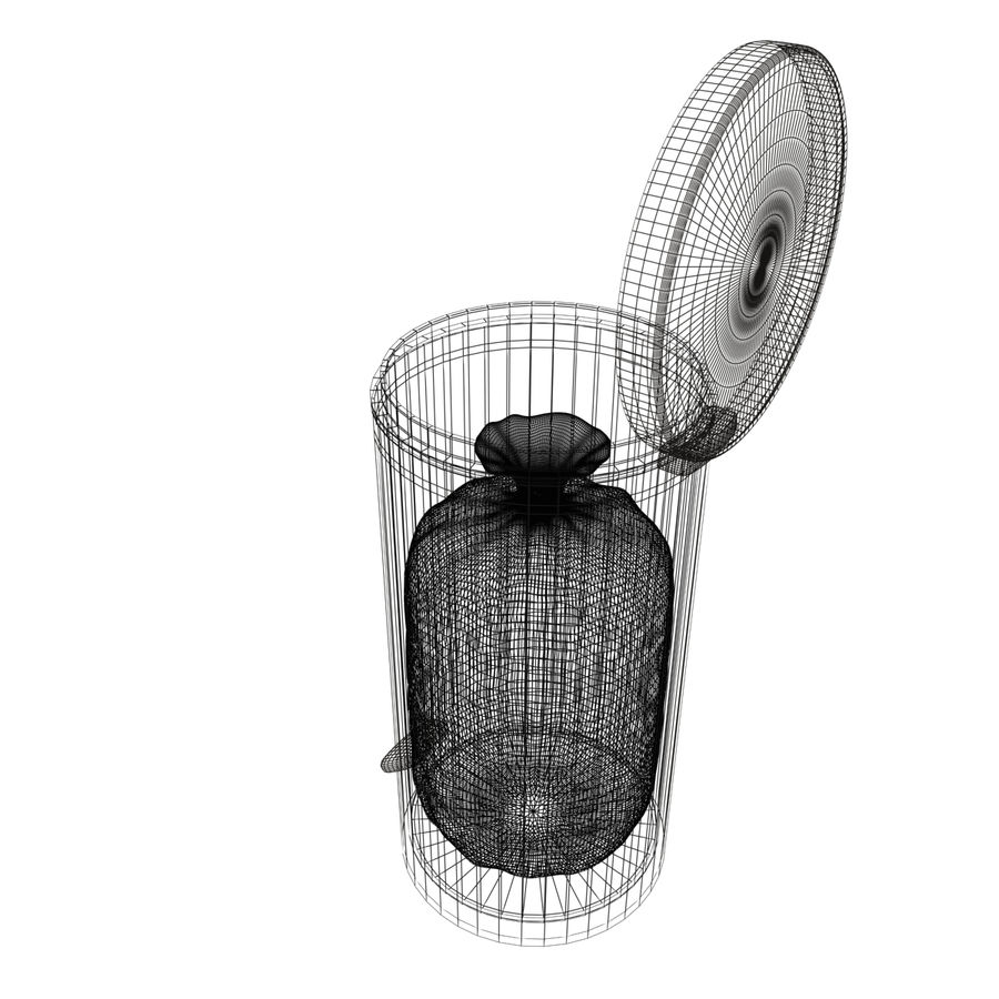 Trash Can and bag royalty-free 3d model - Preview no. 8