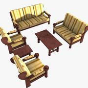 Набор мебели (2 небольших стола, 2 односпальных, 1 двуспальный и 1 трехместный диван) 3d model