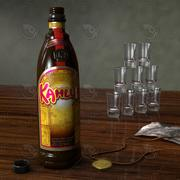 Bottiglia di liquore Kahlua con scena inclusa per Cinema 4d 3d model