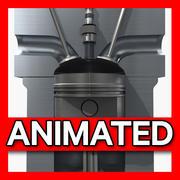 Kolben Cutaway animiert 3d model