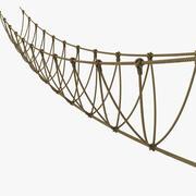 Most linowy nad dżunglą rzeczną 3d model