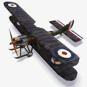 Raf BE2 WWI 저 폴리 항공기 3d model
