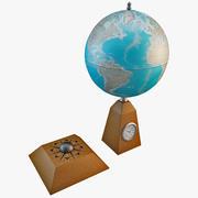 Globus biurkowy z zegarem 2 3d model