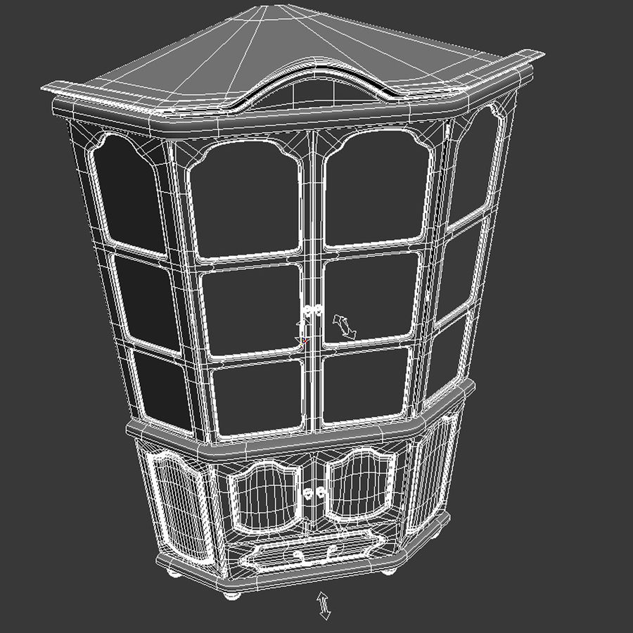 Corner Cupboard Furniture royalty-free 3d model - Preview no. 12