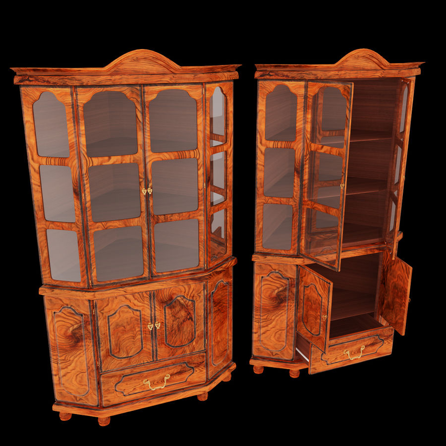 Corner Cupboard Furniture royalty-free 3d model - Preview no. 2