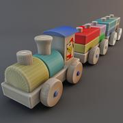 木製おもちゃの列車 3d model