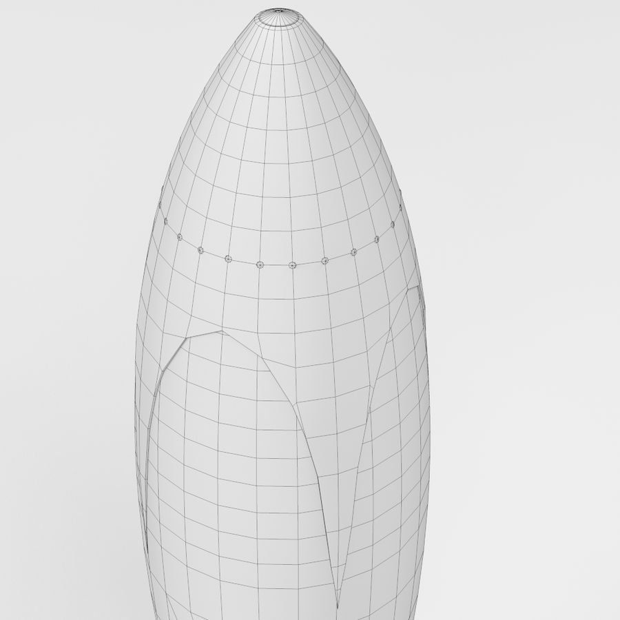 Retro Space Rocket royalty-free 3d model - Preview no. 8