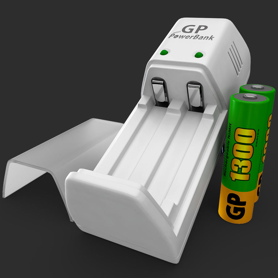AAA Batteries Charger with Batteries royalty-free 3d model - Preview no. 12