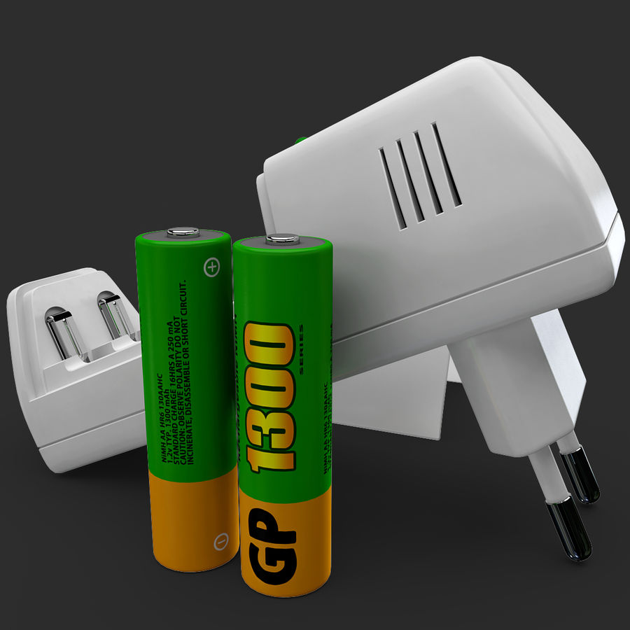 AAA Batteries Charger with Batteries royalty-free 3d model - Preview no. 13