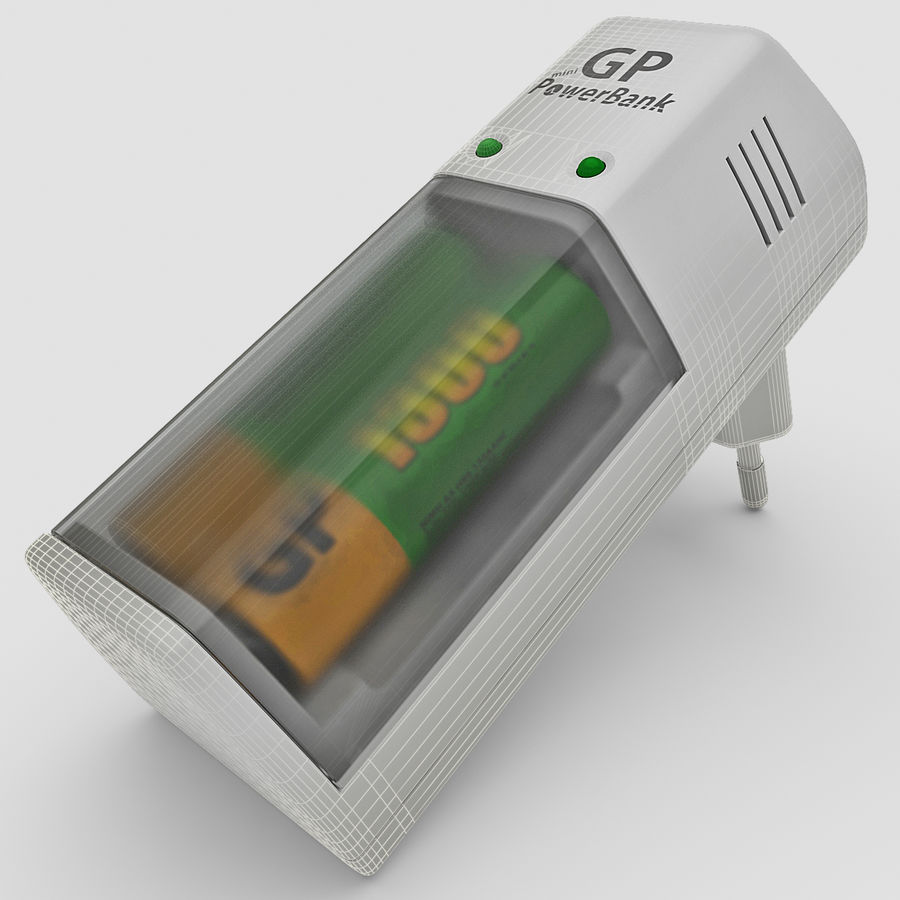 AAA Batteries Charger with Batteries royalty-free 3d model - Preview no. 1