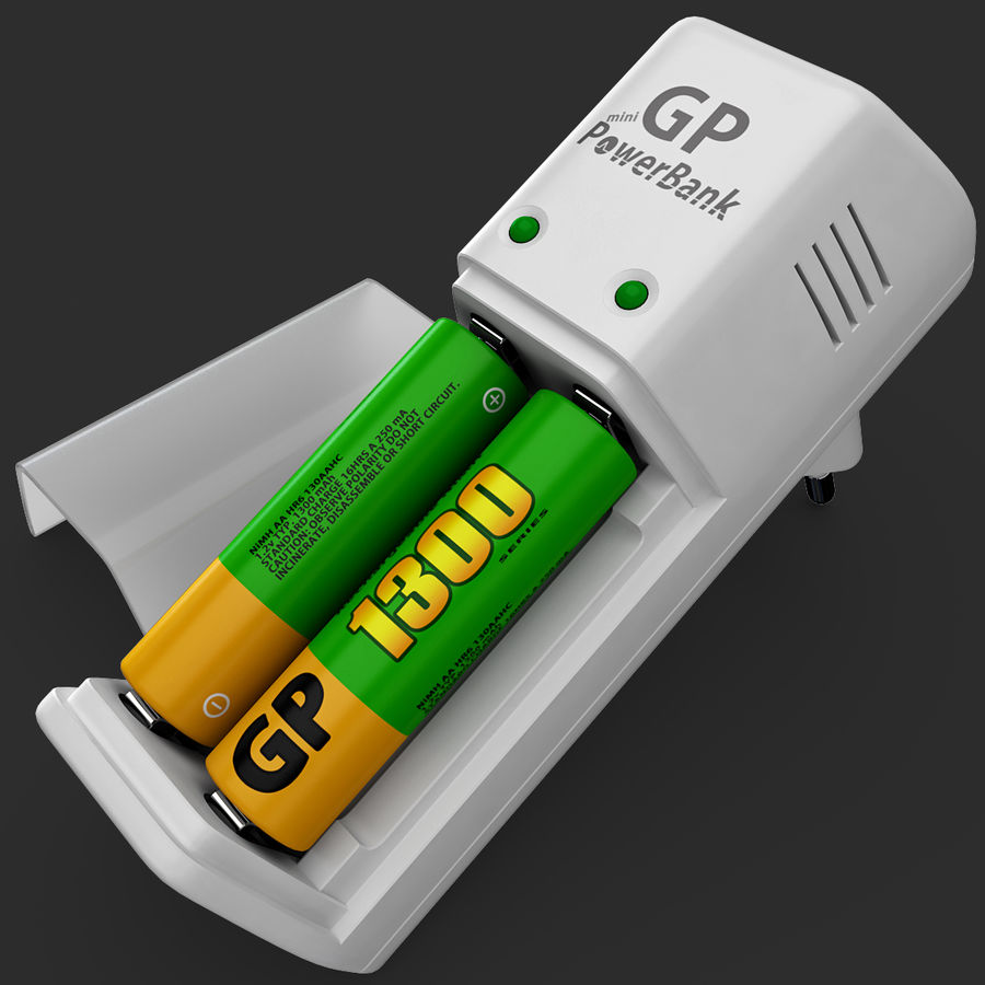 AAA Batteries Charger with Batteries royalty-free 3d model - Preview no. 10