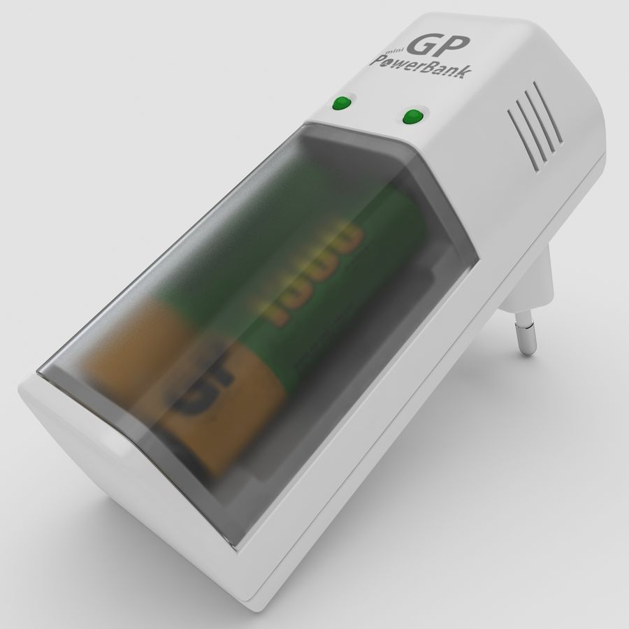 AAA Batteries Charger with Batteries royalty-free 3d model - Preview no. 2