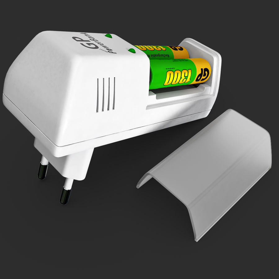 AAA Batteries Charger with Batteries royalty-free 3d model - Preview no. 11