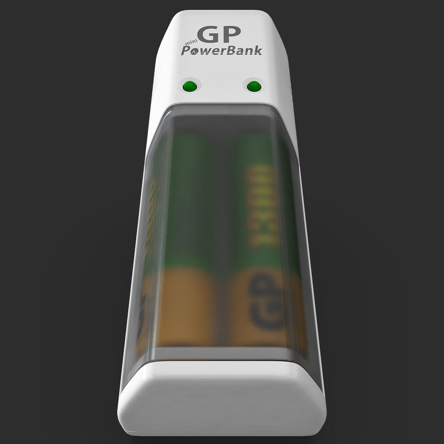 AAA Batteries Charger with Batteries royalty-free 3d model - Preview no. 3