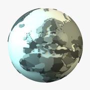 Jorden med länder 3d model