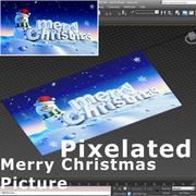 Pixel Frohe Weihnachten 04 3d model
