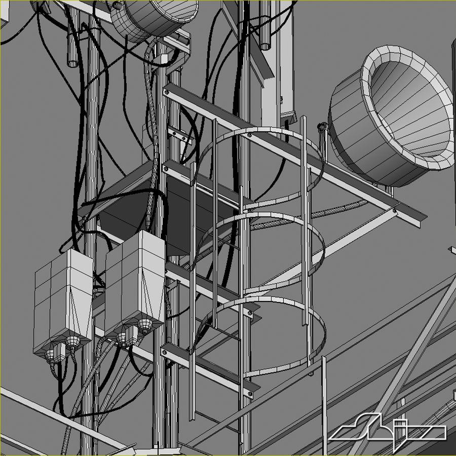 Torre de Comunicação Antena 1 royalty-free 3d model - Preview no. 15