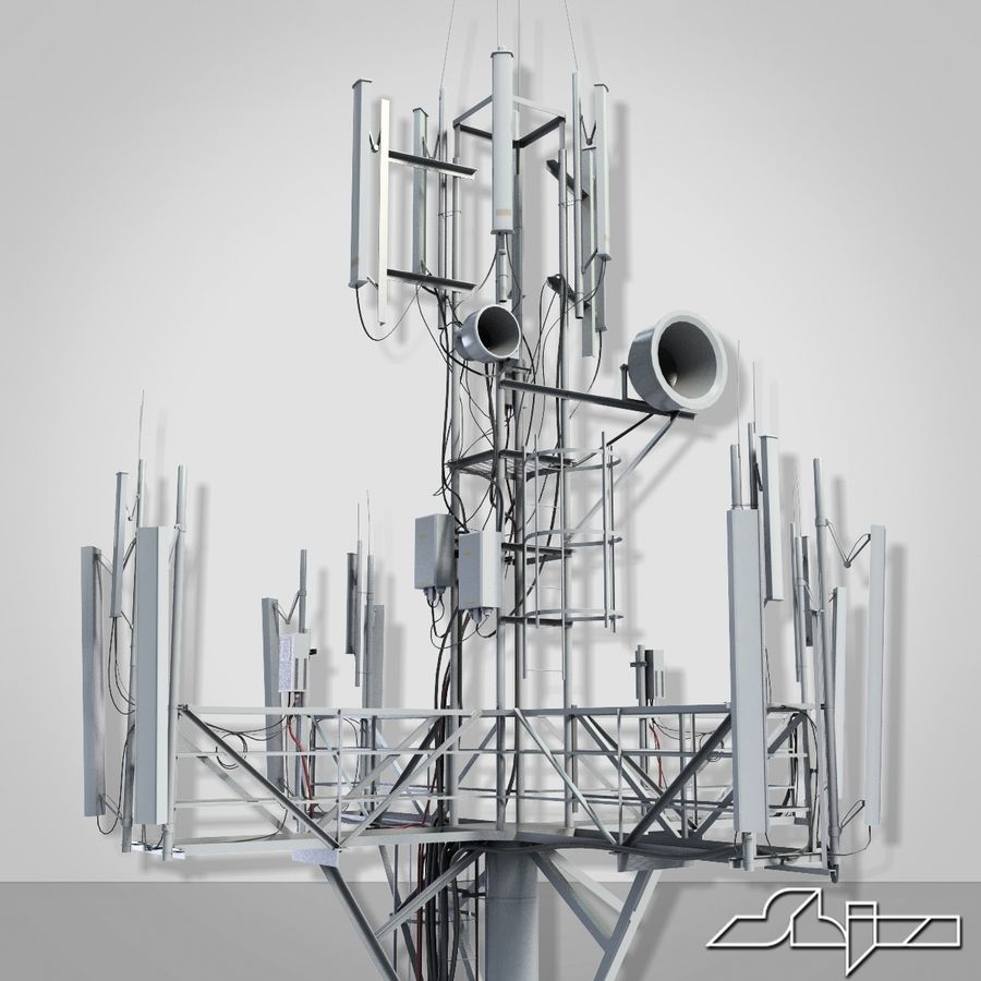 Communication Tower Antena 1 royalty-free 3d model - Preview no. 6