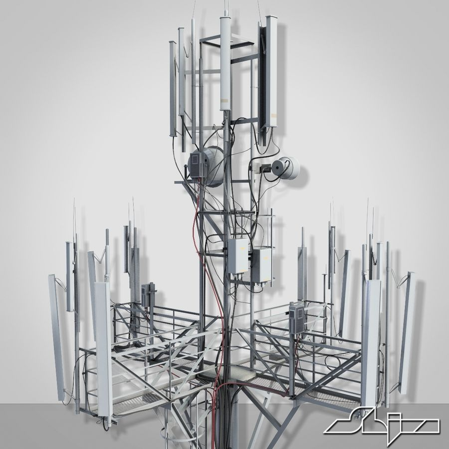Communication Tower Antena 1 royalty-free 3d model - Preview no. 5