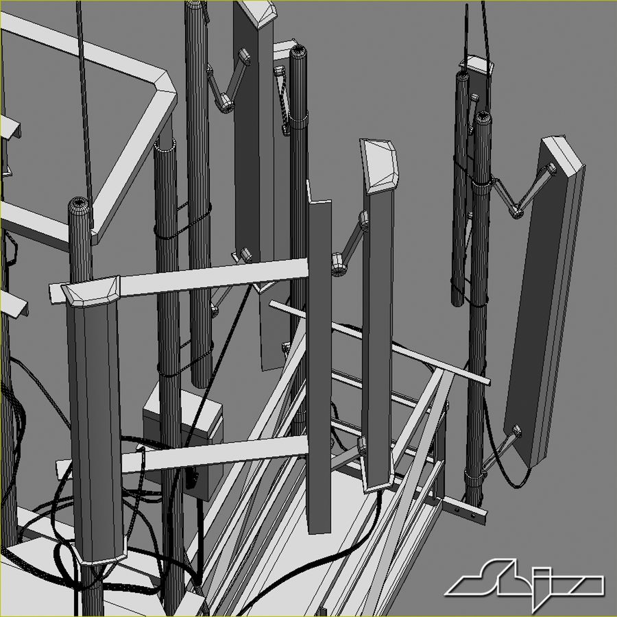 Torre de Comunicação Antena 1 royalty-free 3d model - Preview no. 18