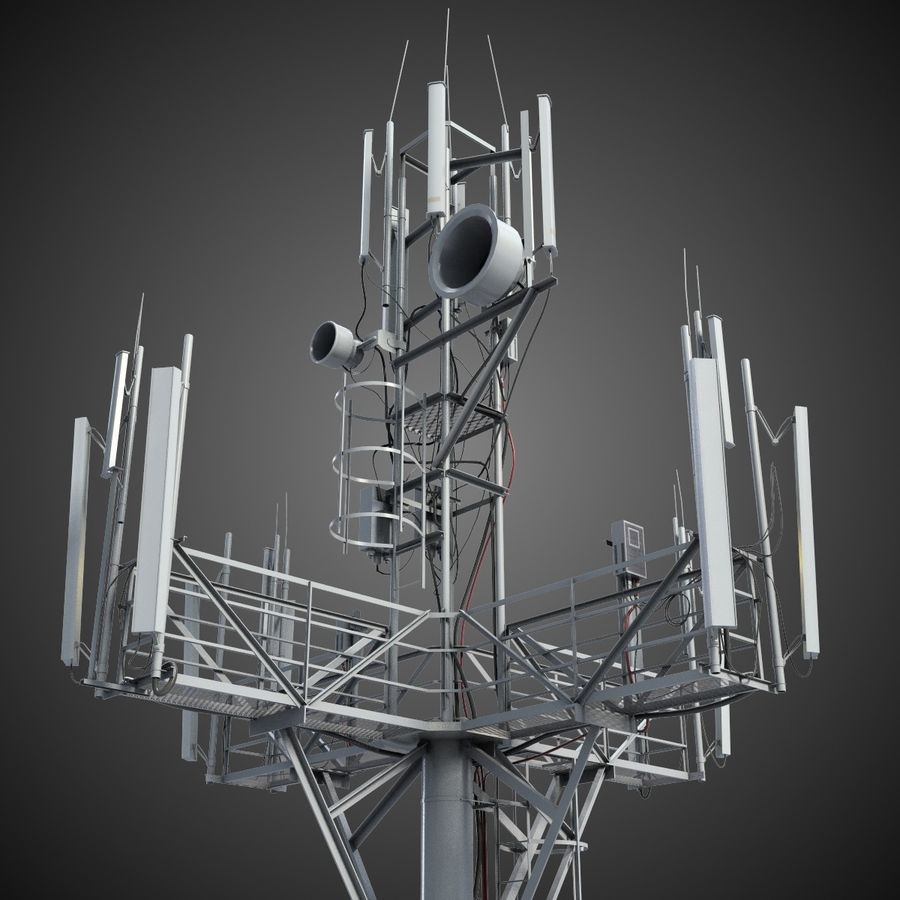 Communication Tower Antena 1 royalty-free 3d model - Preview no. 2