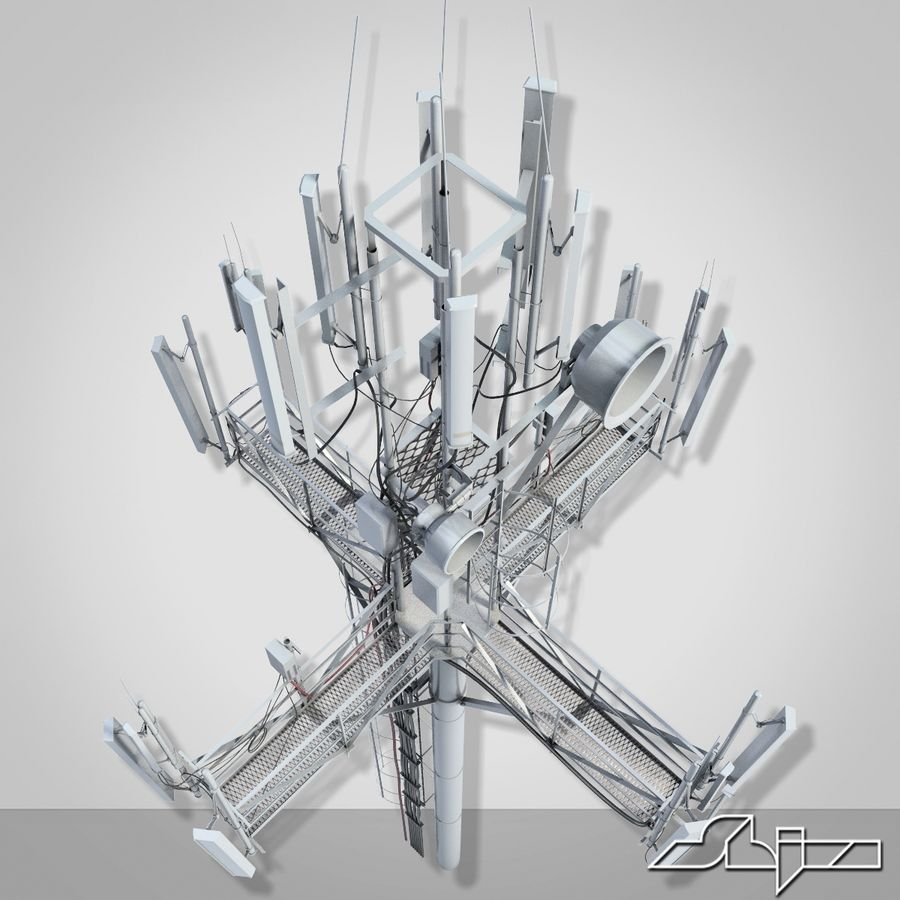 Communication Tower Antena 1 royalty-free 3d model - Preview no. 7