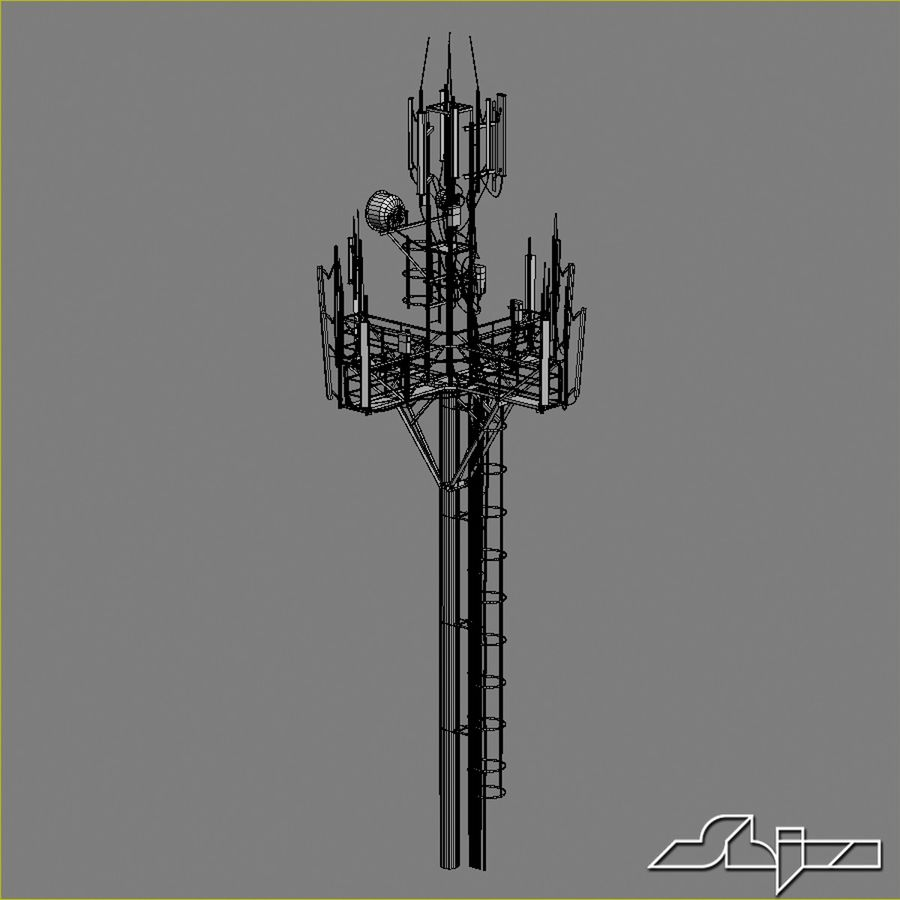 Communication Tower Antena 1 royalty-free 3d model - Preview no. 12