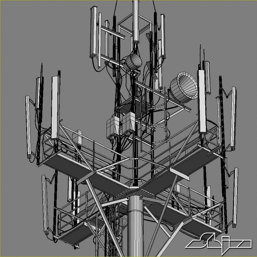 Communication Tower Antena 1 royalty-free 3d model - Preview no. 14