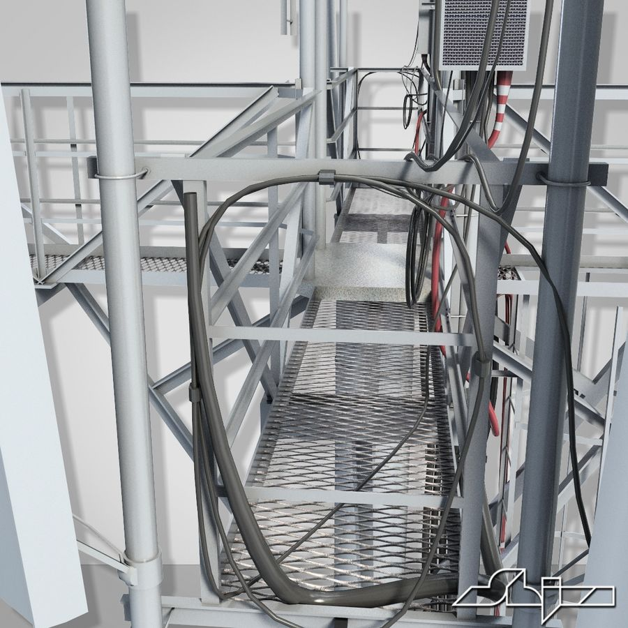 Torre de Comunicação Antena 1 royalty-free 3d model - Preview no. 10